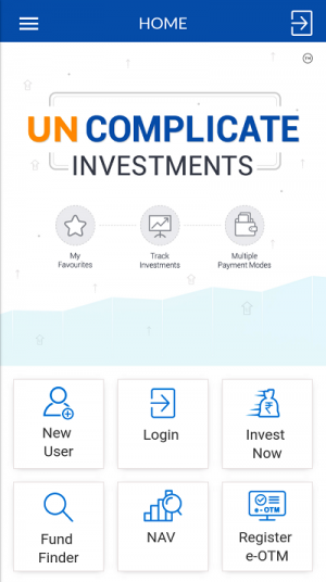 SBI Mutual Fund Investap Homescreen