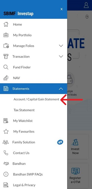 Generate Account Statement of Sbi mutual fund on Phone