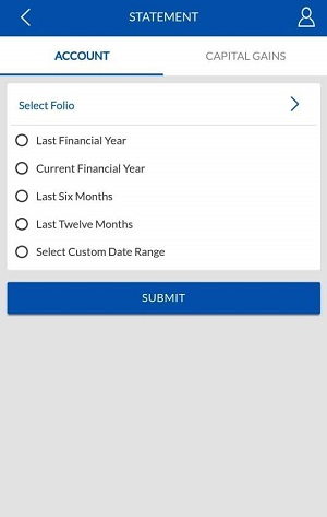 Select the duration of Statement of Sbi mutual fund